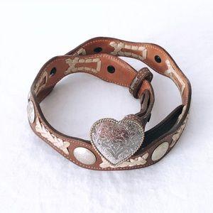 Heart Buckle Boho Western Concho Leather Belt